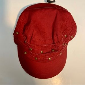 New Red Cotton Cap With Metal Embellishments